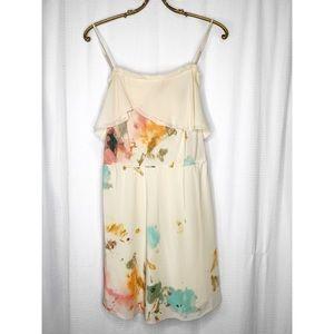 Wilfred cream floral silk mini dress